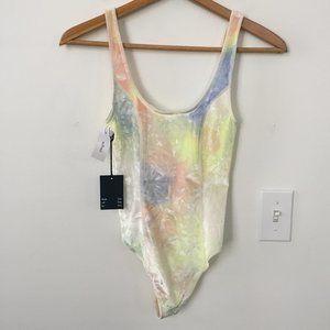 Aritzia Halsey Bodysuit Soft Rainbow Tie Dye